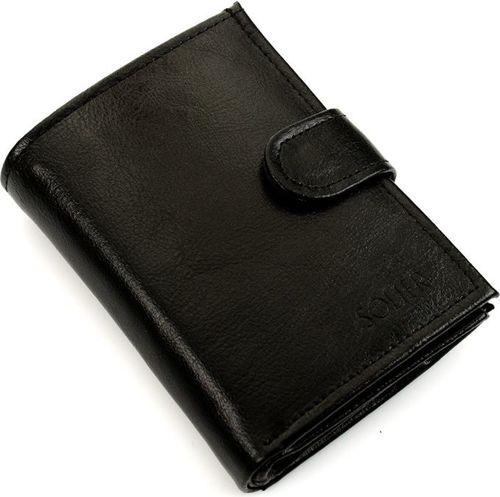 Solier Elegancki czarny skórzany męski portfel SOLIER