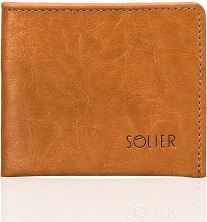 Solier Elegancki jasno brązowy skórzany męski portfel SOLIER  RYLEIGH