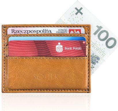 Solier Skórzany portfel wizytownik męski SOLIER  ADELYN