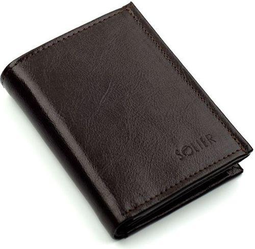 Solier Elegancki brązowy skórzany męski portfel SOLIER  MARIAH