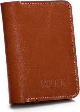 Solier Cienki skórzany męski portfel z bilonówką SOLIER  SLIM BRĄZ