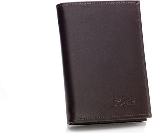 Solier Elegancki brązowy skórzany męski portfel SOLIER