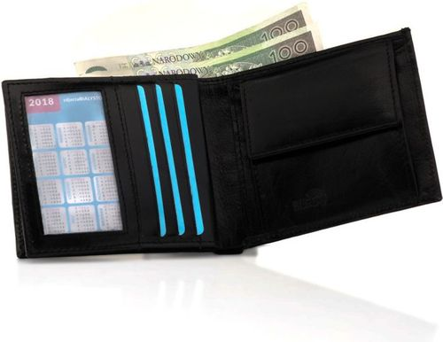 Solier Elegancki czarny skórzany męski portfel SOLIER RFID secure