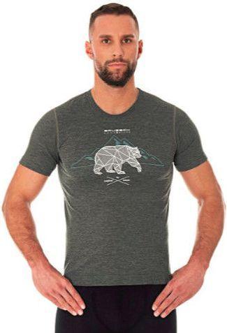 Brubeck Koszulka męska z krótkim rękawem OUTDOOR WOOL grafitowa r. S  (SS12650)