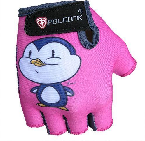 Polednik Rękawiczki rowerowe dziecięce Baby Pingwin różowe r. S (3)
