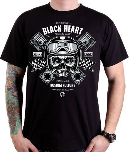 Black Heart Koszulka motocyklowa Piston Skull Czarna r. XXL (BH1-0004)