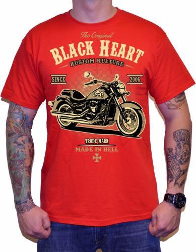 Black Heart Koszulka motocyklowa Harley Red Czerwona r. XL (BH1-0092)