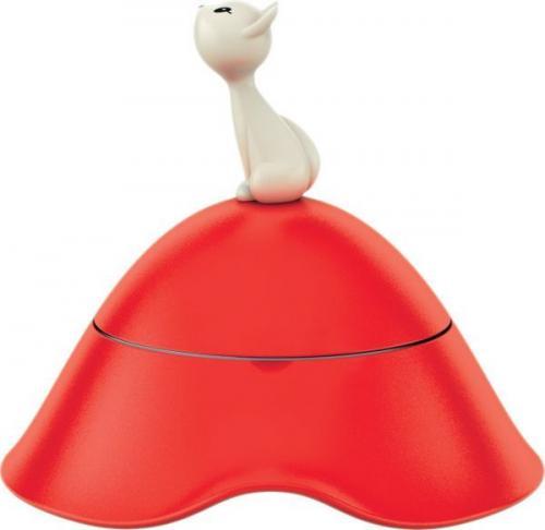 Alessi Miska dla kota z pokrywką termoplastik, stal nierdzewna czerwony (8003299965304)