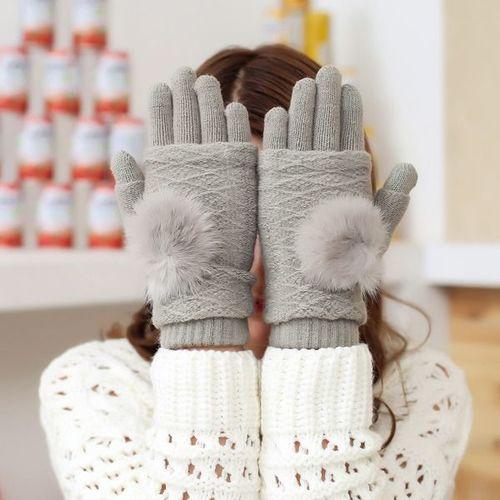 GSM City Rękawiczki damskie z ocieplaczem na dłonie do ekranów dotykowych jasnoszare r. uni