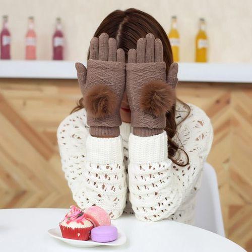 GSM City Rękawiczki damskie z ocieplaczem na dłonie do ekranów dotykowych beżowe r. uni