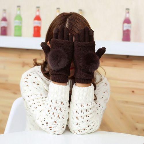 GSM City Rękawiczki damskie z ocieplaczem na dłonie do ekranów dotykowych brązowe r. uni