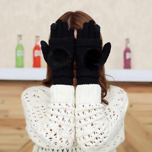 GSM City Rękawiczki damskie z ocieplaczem na dłonie do ekranów dotykowych czarne r. uni