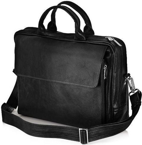 Solier Skórzana męska torba, na laptop Solier REMI czarna