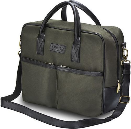 Solier CIDRO Męska torba na ramię na laptopa Khaki