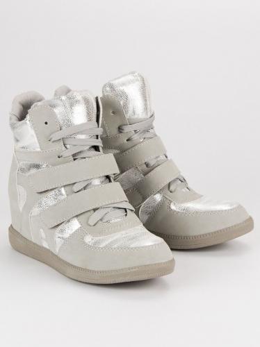 Merg Sneakersy damskie błyszczące szare r. 40
