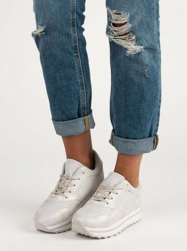 Marquiz Sneakersy damskie modne na platformie białe r. 38