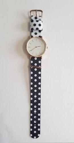 Zegarek GSM City Damski 22657 w kropki czarno-biały