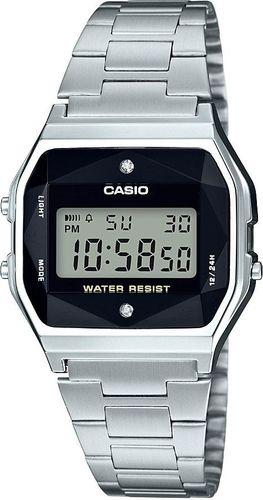 Zegarek Casio Damski Retro Diamond Limited A158WEAD-1EF srebrny