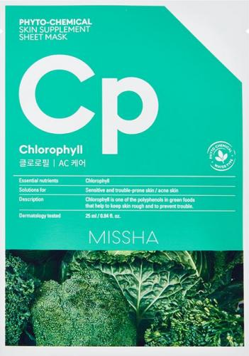 Missha Phyto-Chemical Skin Supplement Kojąca maska w płachcie Chlorophyll 25ml