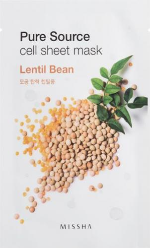 Missha Pure Source Cell Sheet Mask Bawełniania maska na twarz Lentil Bean 21g