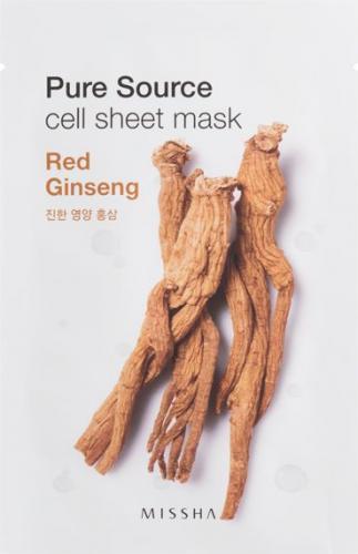 Missha Pure Source Cell Bawełniania maska na twarz Red Ginseng 21g