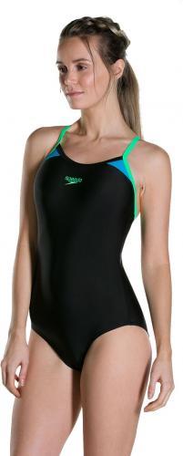 Speedo strój kąpielowy damski Splice Thinstrap Racerback black/green r. 36 (8108379690)