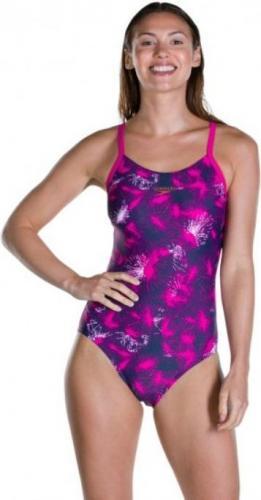 Speedo strój kąpielowy Allover Thin Strap navy/pink r. 40 (810823C521)