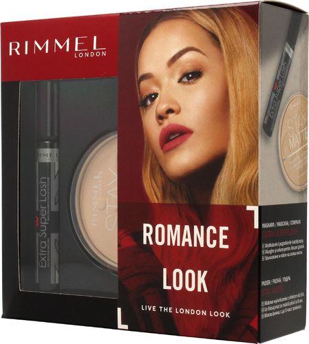 Rimmel  Rimmel Zestaw prezentowy Romans Look (mascara Extra Super Lash 8ml+puder Stay Matte nr 001 14g)
