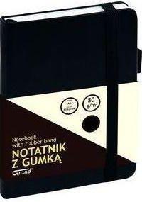 Grand Notatnik A6/80K linia z gumką czarny