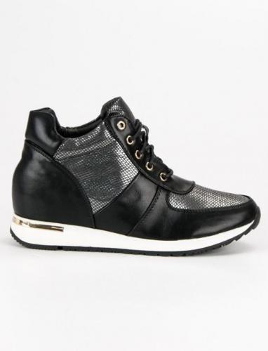 J. Star Sneakersy sportowe na koturnie czarno-srebrne r. 37