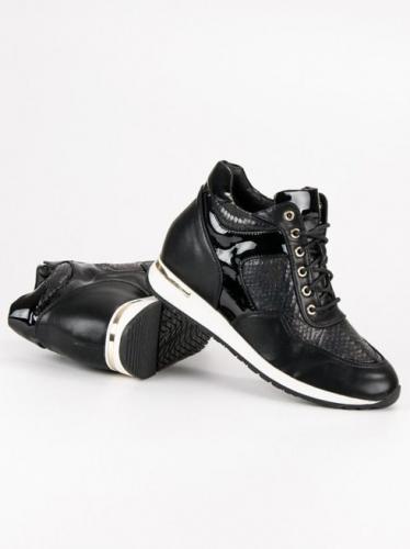 J. Star Sneakersy damskie sznurowane czarne r. 36