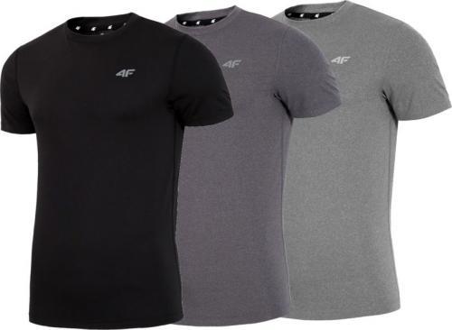 4f Koszulki męskie zestaw 3 szt. czarna/ciemnoszara/szara r. L (H4L18-TSMF002)
