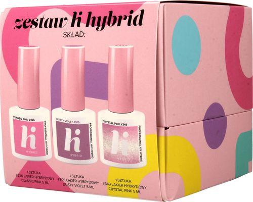 Hi Hybrid Hi Hybrid Zestaw (lakiery: nr 226 Classic Pink,nr 309 Dusty Violet,nr 349 Crystal Pink) 3x5ml