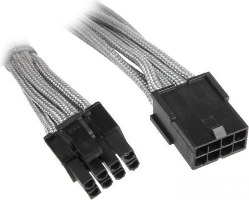 BitFenix przedłużacz  6+2-Pin PCIe 45cm - ekranowany srebrno - czarny (BFA-MSC-62PEG45SK-RP)