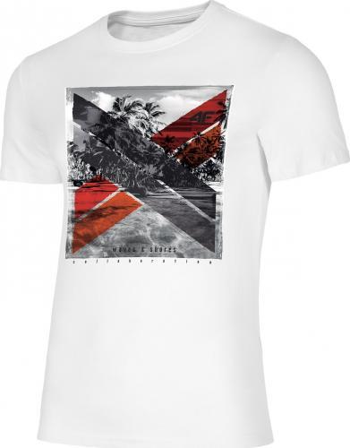 4f Koszulka męska H4L19-TSM025A biała r. L