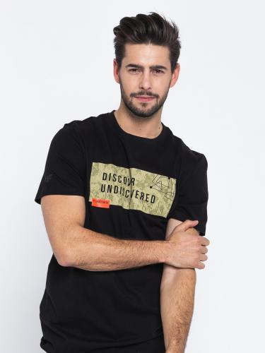 4f Koszulka męska H4L19-TSM005 głęboka czerń r. L