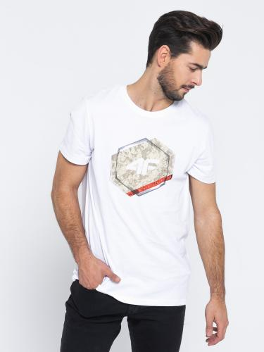 4f Koszulka męska H4L19-TSM010 biała r. L