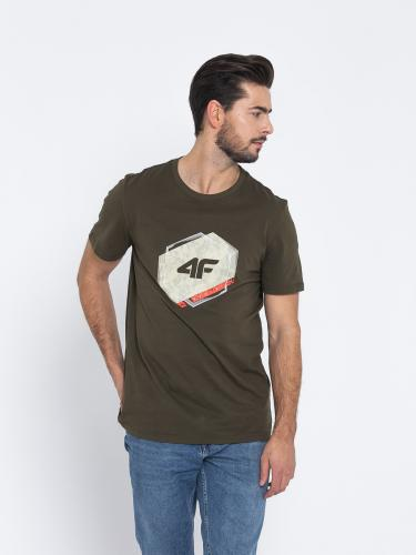 4f Koszulka męska H4L19-TSM010 khaki r. M