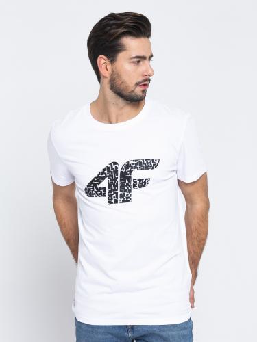 4f Koszulka męska H4L19-TSM020 biała r. M