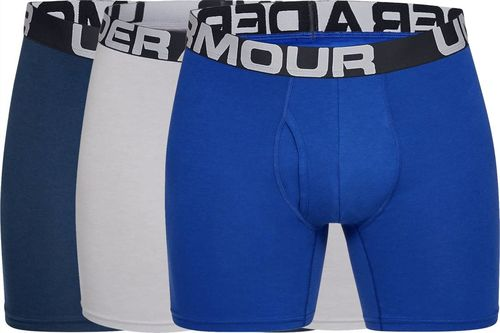 Under Armour Bokserki męskie Charged Cotton 6in 3-Pack niebieskie, granatowe, szare r. S (1327426-400)