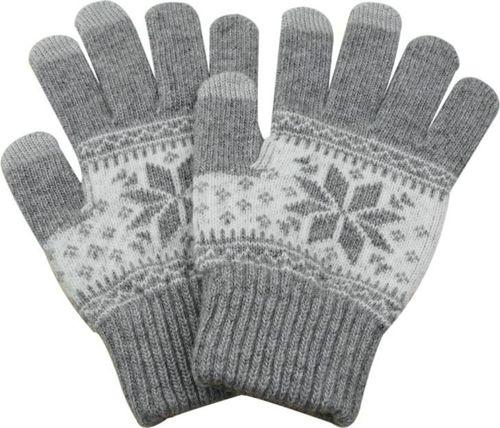 Hurtel Uniwersalne rękawiczki do ekranów dotykowych z zimowym wzorem jasnoszary uniwersalny