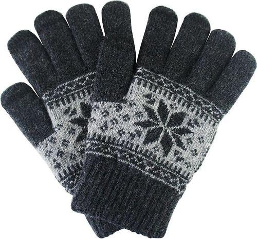 Hurtel Uniwersalne rękawiczki do ekranów dotykowych z zimowym wzorem szary uniwersalny