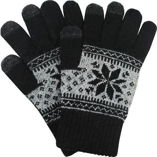 Hurtel Uniwersalne rękawiczki do ekranów dotykowych z zimowym wzorem czarny uniwersalny