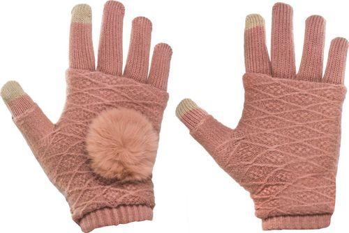 Hurtel Zimowe rękawiczki 2w1 z ocieplaczem na dłonie do ekranów dotykowych mitenki różowy uniwersalny
