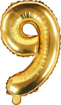"""Party Deco Balon foliowy Cyfra """"9"""", 35cm, złoty uniwersalny"""