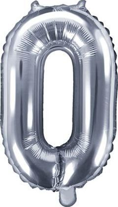 "Party Deco Balon foliowy Cyfra""0"", 35cm, srebrny uniwersalny"