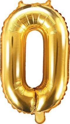 """Party Deco Balon foliowy Cyfra """"0"""", 35cm, złoty uniwersalny"""