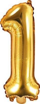 """Party Deco Balon foliowy Cyfra """"1"""", 35cm, złoty uniwersalny"""