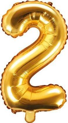 """Party Deco Balon foliowy Cyfra """"2"""", 35cm, złoty uniwersalny"""