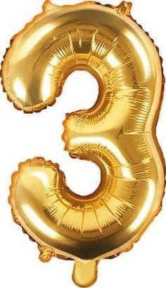 """Party Deco Balon foliowy Cyfra """"3"""", 35cm, złoty uniwersalny"""